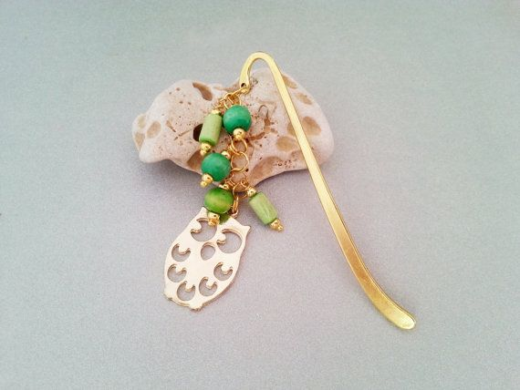 Green and gold owl metal bookmark with wooden  by MKedraHandmade, $10.00