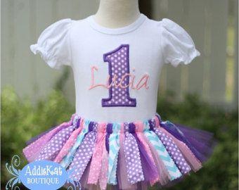 Traje de cumpleaños Tutu personalizada tela rosa púrpura, Aqua y luz