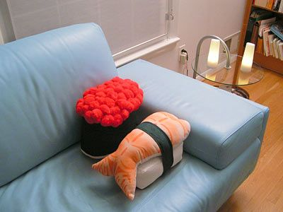 Sushi pillows!!!! Ahhhhh we need these for our first apartment!!!