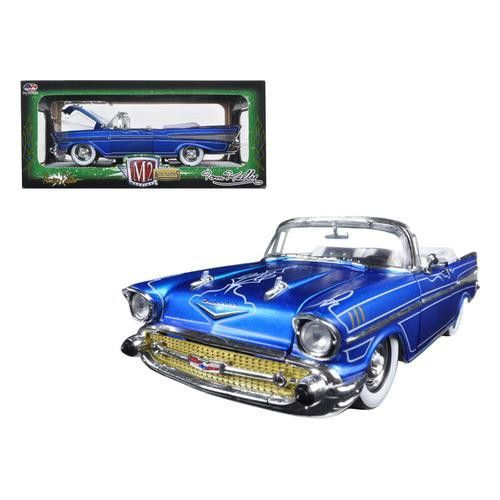 """1957 Chevrolet Bel Air Convertible Satin Blue with White """"Tom Kelly Special Edition"""" 1/24 Diecast Model Car by M2 Machines"""