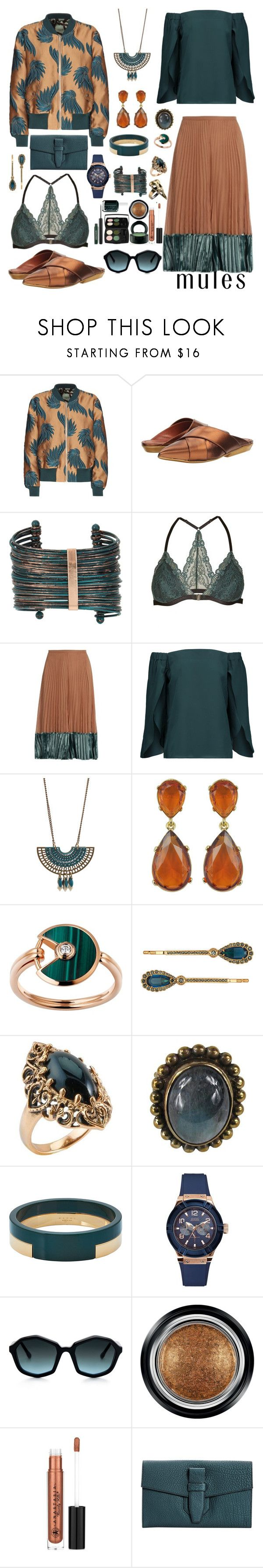 """""""Slip 'em on mules & Statement necklace"""" by booknerd1326 ❤ liked on Polyvore featuring Dries Van Noten, Missoni, Boutique+, Topshop, Valentino, Bailey 44, Kenneth Jay Lane, Cartier, Henri Bendel and Barse"""