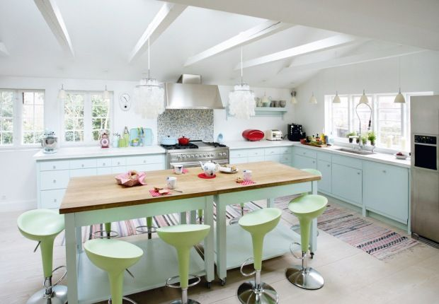 """feels a little too """"industrial"""", but i do love the colors and especially the huge butcher block topped island."""