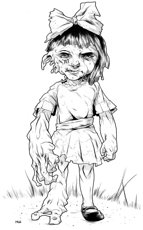 Zombie Child Coloring Page