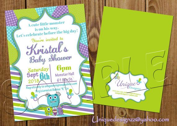 Mosters inc Baby Shower Invitations by UniqueDesignzzz on Etsy