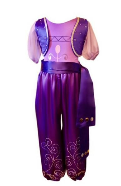 About TheCostume This purple genie costume is for the girl loves to sparkle, shimmer and shine. From the unique rhinestone design on the pants to the shimmerin