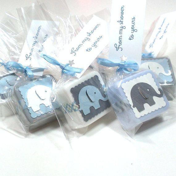 Elephant baby shower favors, made with handmade shea butter mini soaps. They are shown in white, light blue and grey in the main picture but are available to match any color theme. These soaps measure approximately 1 1/4 across and are about 1/2 thick. They weigh approximately 1 oz each. Each favor comes with an ingredients label so your guests know what is in their soap. These are also available in 2-4 ounce soaps. (message me for more info)  --Orders of 36+ come packaged in nice boxes you…