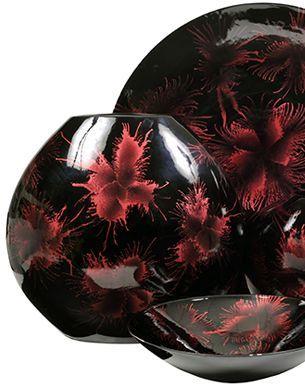Jídelní sada * černo růžový porcelán s mramorovým vzorem.