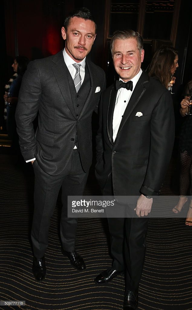 Luke Evans (L) and Jeremy Hackett attend the GQ and Hackett Pre-BAFTA party, celebrating Hackett's fifth year as the Official Menswear Stylist to the EE British Academy Film Awards, at The Savoy Hotel on February 12, 2016 in London, England.