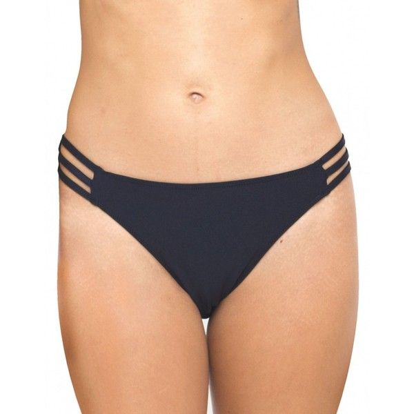 Motel Sunstone Cut Out Bikini Bottom in Black ($18) ❤ liked on Polyvore featuring swimwear, bikinis, bikini bottoms, black, cut out bikini bottoms, bikini bottom swimwear, black cut out bikini, bottom bikini and black swimwear
