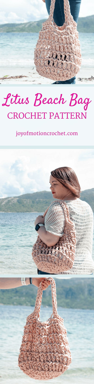 Litus Beach Bag. Crochet Beach Bag | summer crochet idea | summer crochet | beach crochet | bag crochet | crochet bag | crochet beach bag | summer crochet project | summer crochet pattern | beach bag crochet pattern | crochet bag pattern. via @http://pinterest.com/joyofmotion/