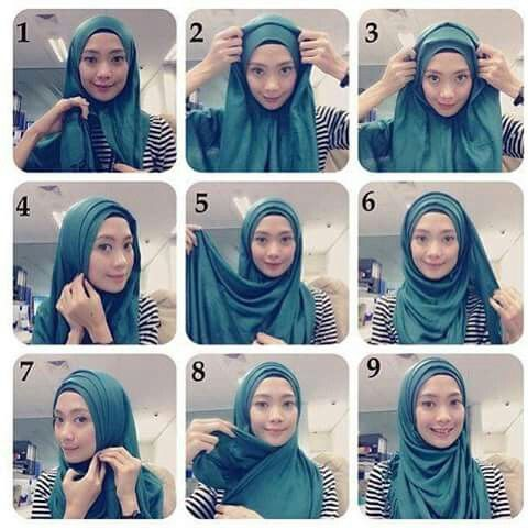Hijab with folds