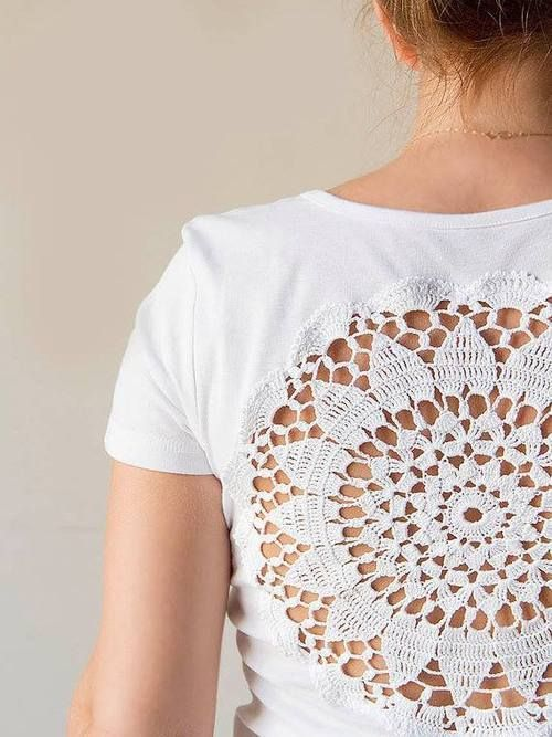 For all those doilies in the closet...Cut a hole in the back of a tee shirt top and sew in a hand crochet doilie; Upcycle, Recycle, Salvage, diy, thrift, flea, repurpose!