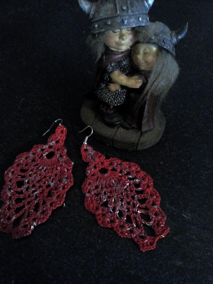 red sparkling leaf earrings