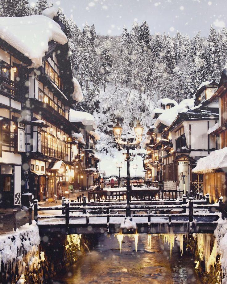 """""""山形 銀山温泉 Ginzan Onsen (hot spring) Yamagata Japan. #ginzanonsen #travel #japan #yamagata #onsen #温泉…"""""""