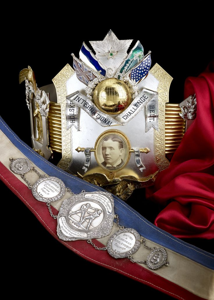 A boxing belt presented to Randolph Turpin and a Holske International Challenge belt presented to Jem Carney