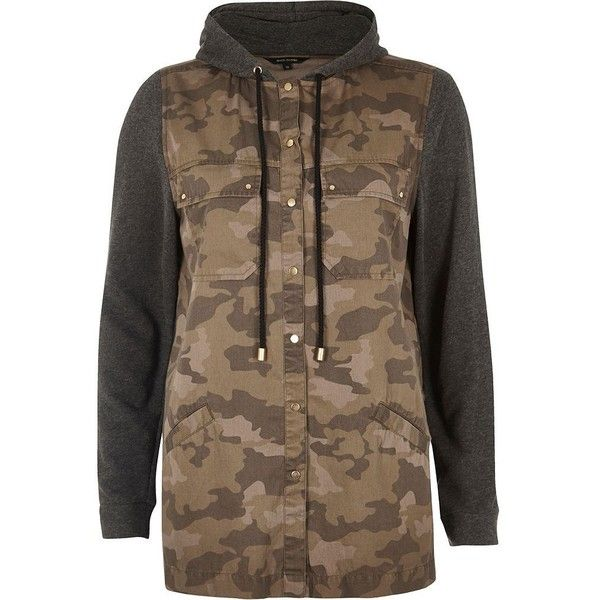 River Island Green camo hooded shacket (745 ARS) ❤ liked on Polyvore featuring tops, hoodies, browning camo hoodies, camo hoodies, river island, camo print top and tall hoodies