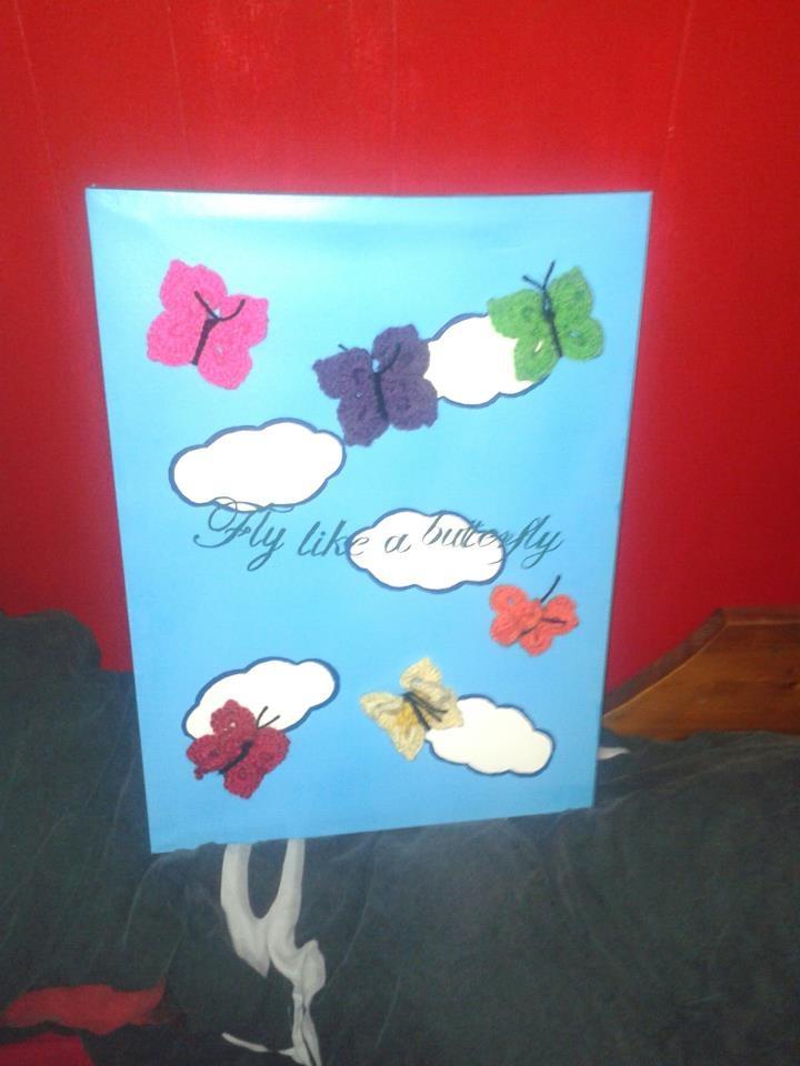 schilderij met gehaakte vlinders