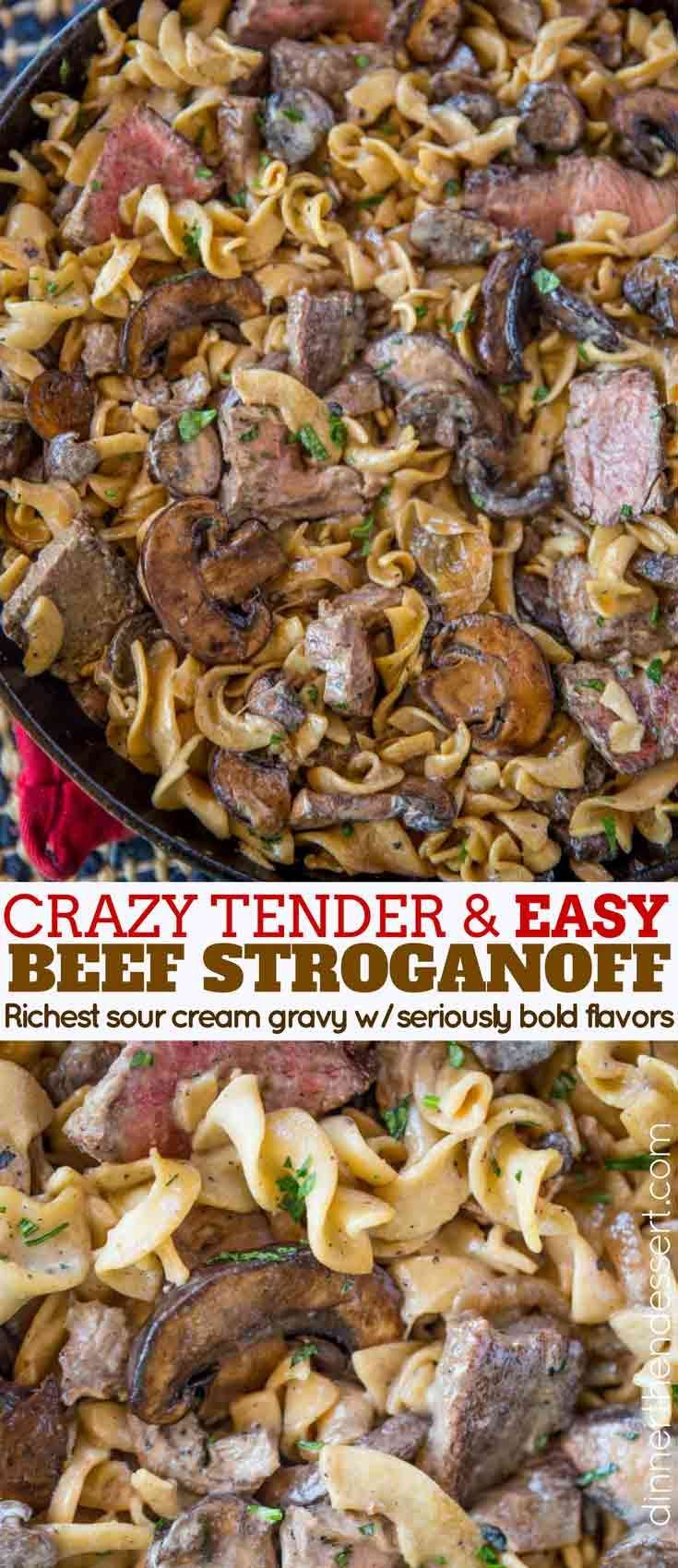Quick and EASY Beef Stroganoff with a creamy sour cream mushroom gravy, egg noodles and crazy tender steak that's still cooked to a medium doneness, it's the perfect weeknight meal!