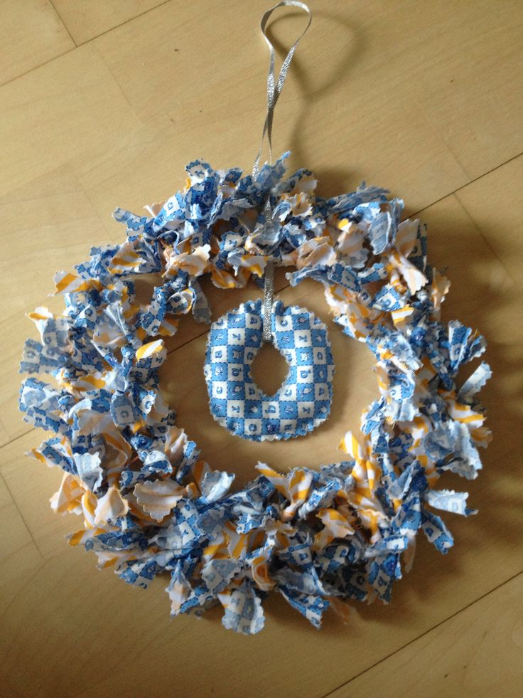 Handmade fabric scrap wreath, perfect for a new baby gift, christening gift or just a craft project. Made by @JoLeWo