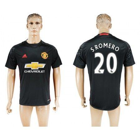 Manchester United 16-17 #S.Romero 20 Sort målmand Trøje Kort ærmer,208,58KR,shirtshopservice@gmail.com