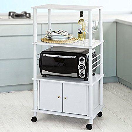 SoBuy® Forno a microonde Mensole, Carrello da cucina, armadietto cucina, in metallo e legno,bianco,FRG12-W,IT