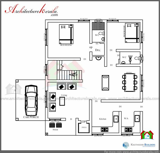 Beautiful Double Floor 03 Bedroom Kerala Home Design With Free Plan Free Kerala Home Plans Low Cost House Plans Bedroom Floor Plans Bedroom House Plans