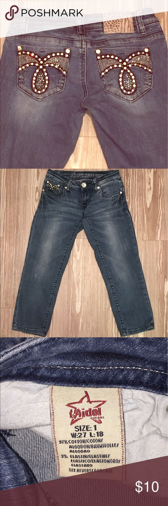 LA Idol Bling Skinny Capri Fair condition LA Idol Capri. Jeans are in great shape, the LA Idol tag on the rear is missing. They are still really cute and the rhinestones are still in tact. Style is dark wash distressed. LA Idol Jeans Skinny