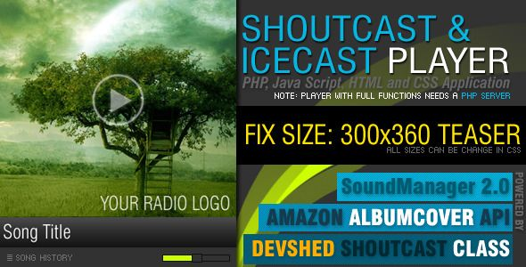 PHP-Javascript Shoutcast and Icecast V2.0 (Images and Media)