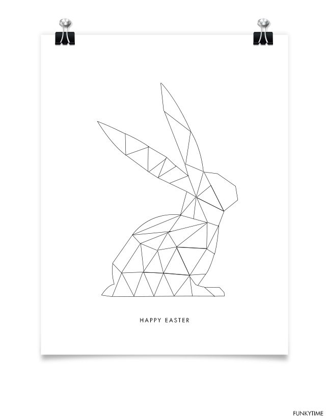 Free Printable Geometric Easter Bunny Card
