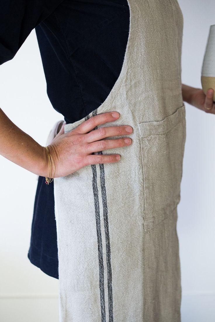 White apron toronto - Vintage Linen Apron
