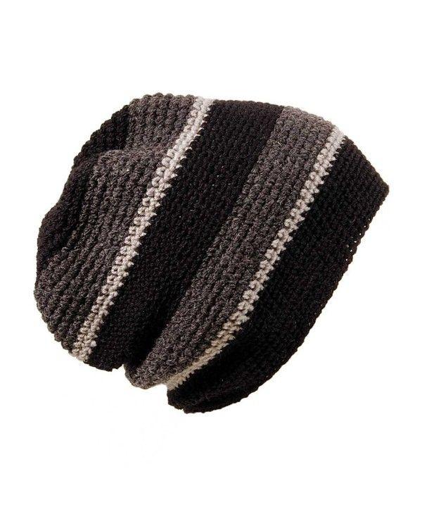 850fc5ea891 POM London Handmade Crochet Baggy Beanie Hat (Black- Charcoal- Gray ...