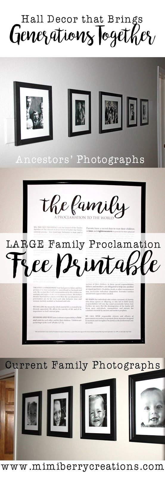 Displaying ancestors' photos, along with current family photos, is a great way to bridge the generations, and create a deeper identity for those living. A great way to finish off a family picture collage is to display the Family Proclamation too. LARGE FREE 'Family: A Proclamation to the World' printable so that you can DIY! #familyproclamation #gallerywall #geneology #halldecor #walldecor #freewallart