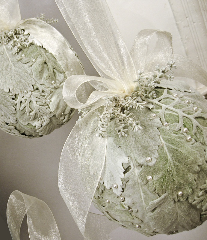 Dusty Miller, Silver Sage Kissing Balls- what a gorgeous, updated version of this classic item! This would make for another great Holiday class/event!
