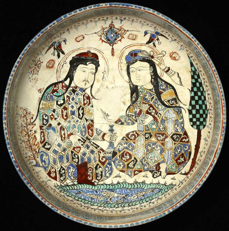 Seljuk Bowl with Turkish Couple, c. 1200AD