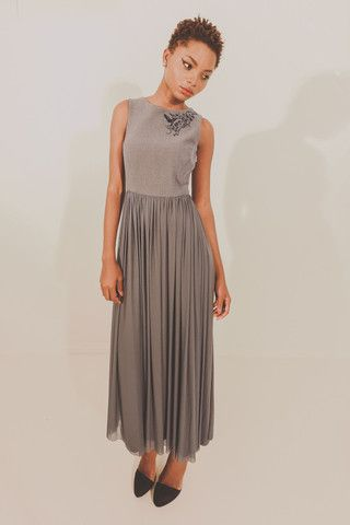 Alluvial Dream Dress - Grey with Black Embroidery – Blackeyed Susan