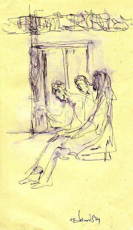 waiting for something. sketch in metro