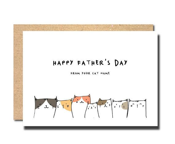 fathers day card from cat, fathers day card cat, fathers day card personalised, ...
