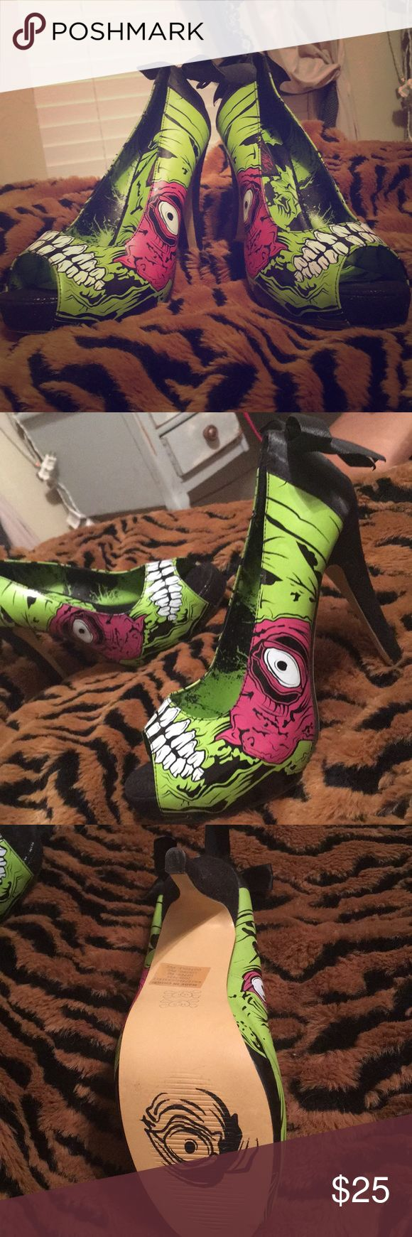 Iron Fist Zombie platform heels size 9 women's Iron Fist Zombie platform heels. They are a size 9 US. They have never been worn but have a small scuff from storage through the years. Made of PVC. About 3 inch tall heels. Iron Fist Shoes Heels