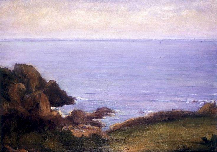 Brzeg morski ze skałami w Bretani