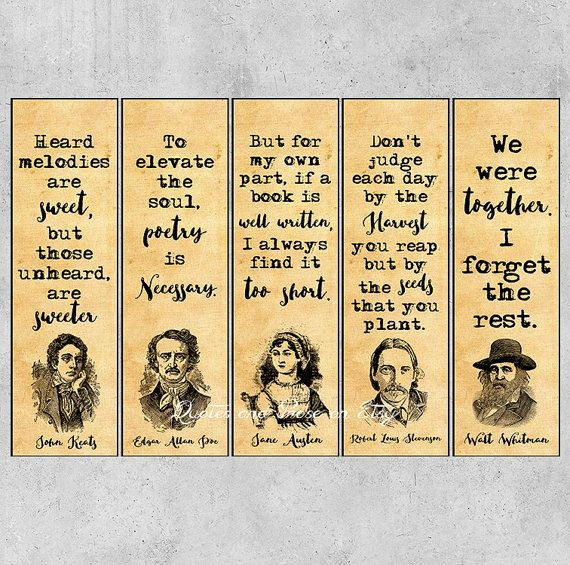 Products Bookmarks Design Inspiration And: Authors Quotes Bookmarks , Literary Bookmarks, Printable