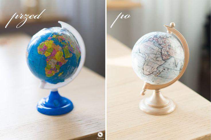 Plastic globe makeover. Handpainted globe