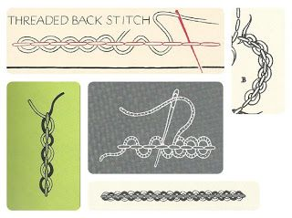 Interlaced back stitch (aka double laced back stitch, threaded back stitch)
