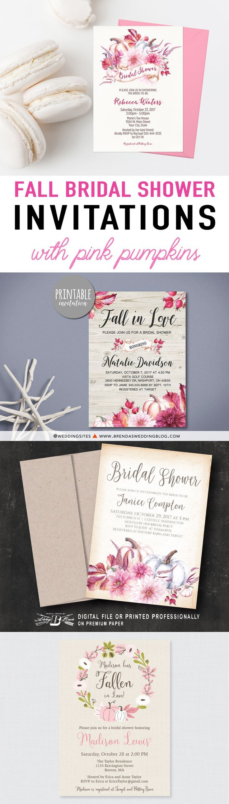 Printable Fall Bridal Shower Invitations with pumpkins, pretty pink flowers and leaves. Autumn Bridal Shower Invitations. Fall Wedding Invitations. Pink Pumpkin Bridal Shower Inspiration. as seen in Decorating for Fall Parties with Pink and Gold Pumpkins on Brenda's Wedding Blog www.brendasweddingblog.com