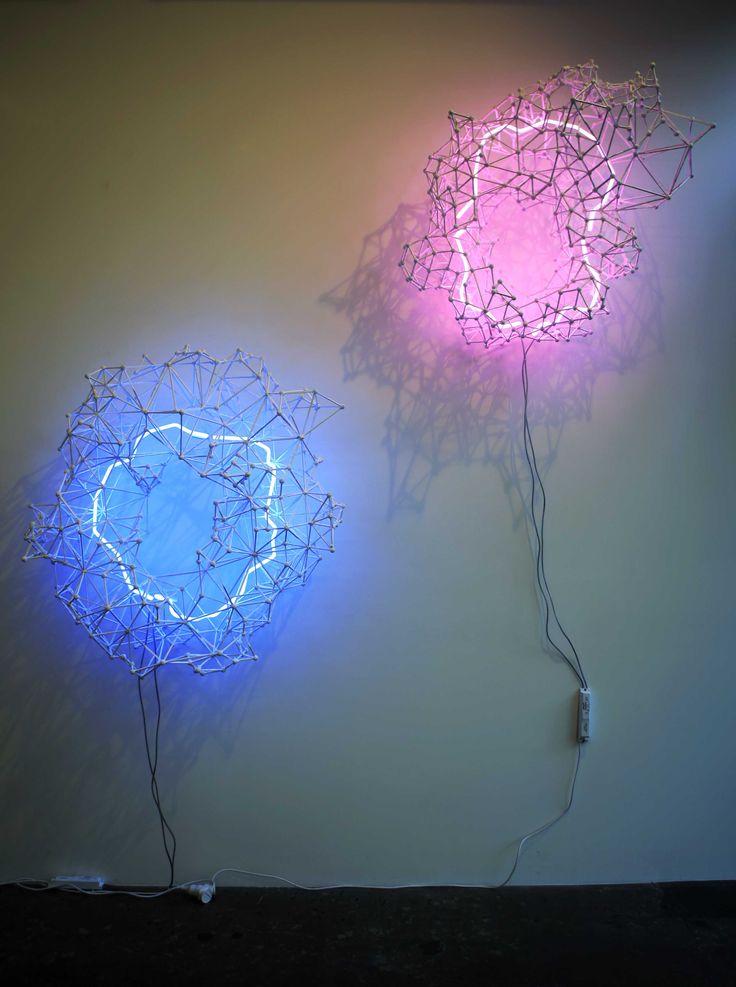 Gregor Kregar, Model for Liquid geometry 1 and 2, 2010, 1.3×1.2×0.6m each,custom made neon and plastic