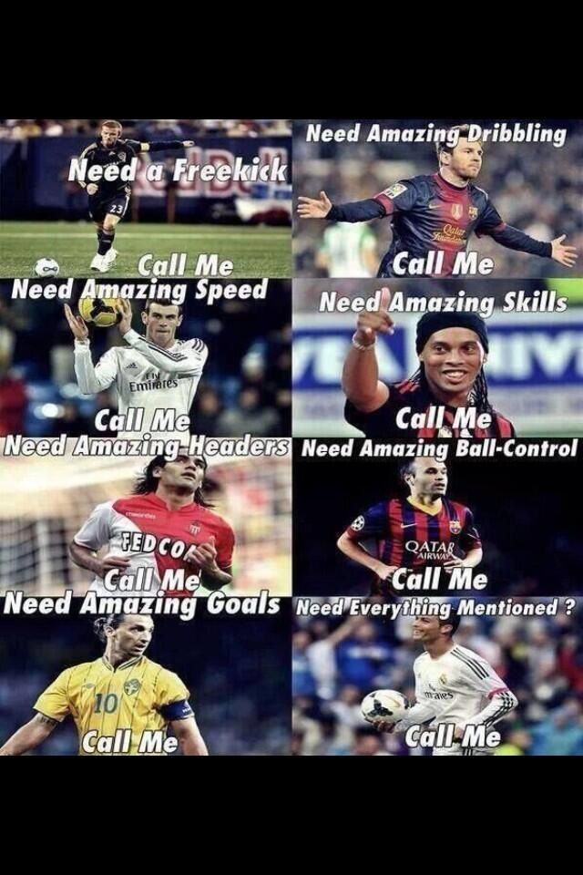 That all of those soccer player's can do their skills but Ronaldo is best so he could all of the things that they do.