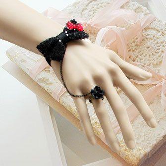 Принцесса Готическая Лолита ювелирные изделия Панк лолита блестки блестящие черное кружево лук браслет с черной розы ер ен ос набор старинных ювелирных изделий