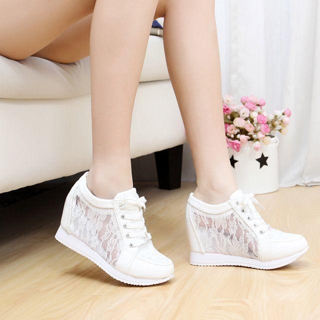 zomer hoge hakken vrouwen wig schoenen casual schoenen 8cm ademende toevallige vrouwen platform schoenen sportschoenen ademend 40