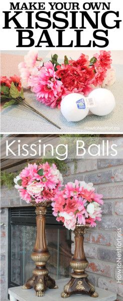 MAKE YOUR OWN KISSING BALLS: One of the easiest craft projects, plus it's fun to make different colors for each season!