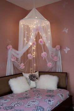 DIY Bed Canopy Hula Hoop Pictures