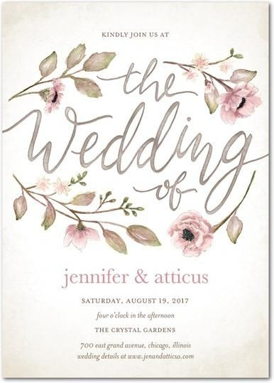 This Vintage Floral Watercolor Wedding Invitation Is The Perfect  Combination Of Pastel Pinks And Handwritten Elements